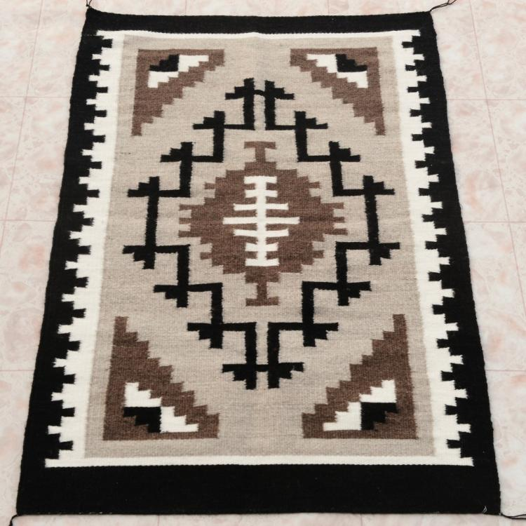 "Two Grey Hills Navajo Rug Mid 20th Century 29"" X 43"""