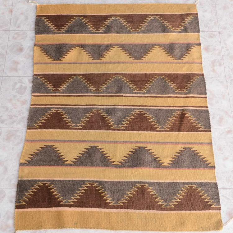 "Navajo Crystal Wool Rug With 1992 Appraisal 1950's 38"" X 51"""