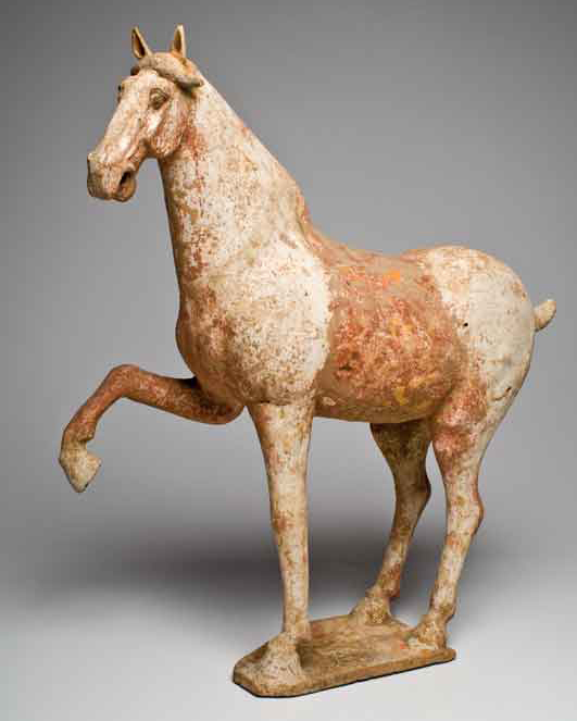 A Lively Terracotta Prancing Horse, China, Tang Dynasty, 618-907 AD