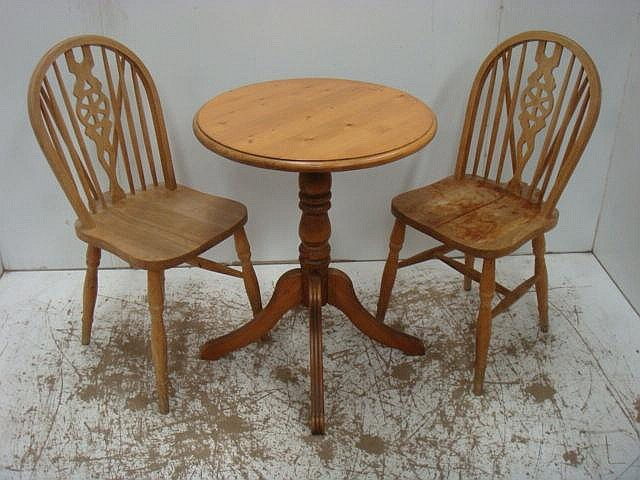 Polished Pine Small Circular Top Table & Two Wheel