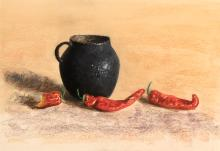 William Acheff, Untitled (Black Pot with Red Chiles), ca. 1990
