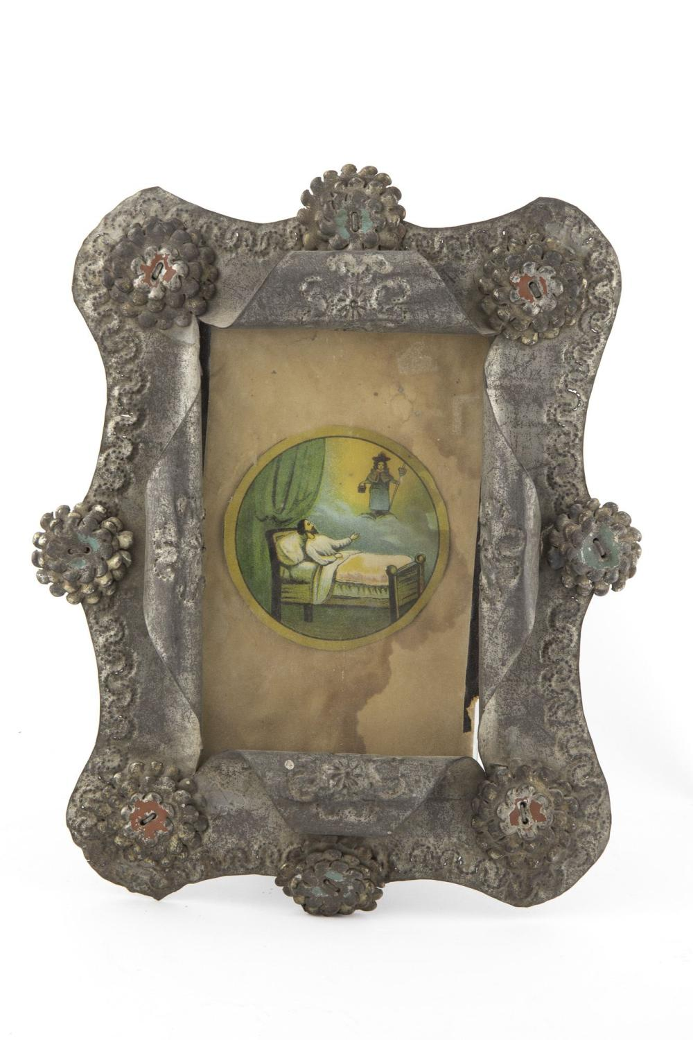 Two Tin Frames with Devotional Prints, ca. 1875