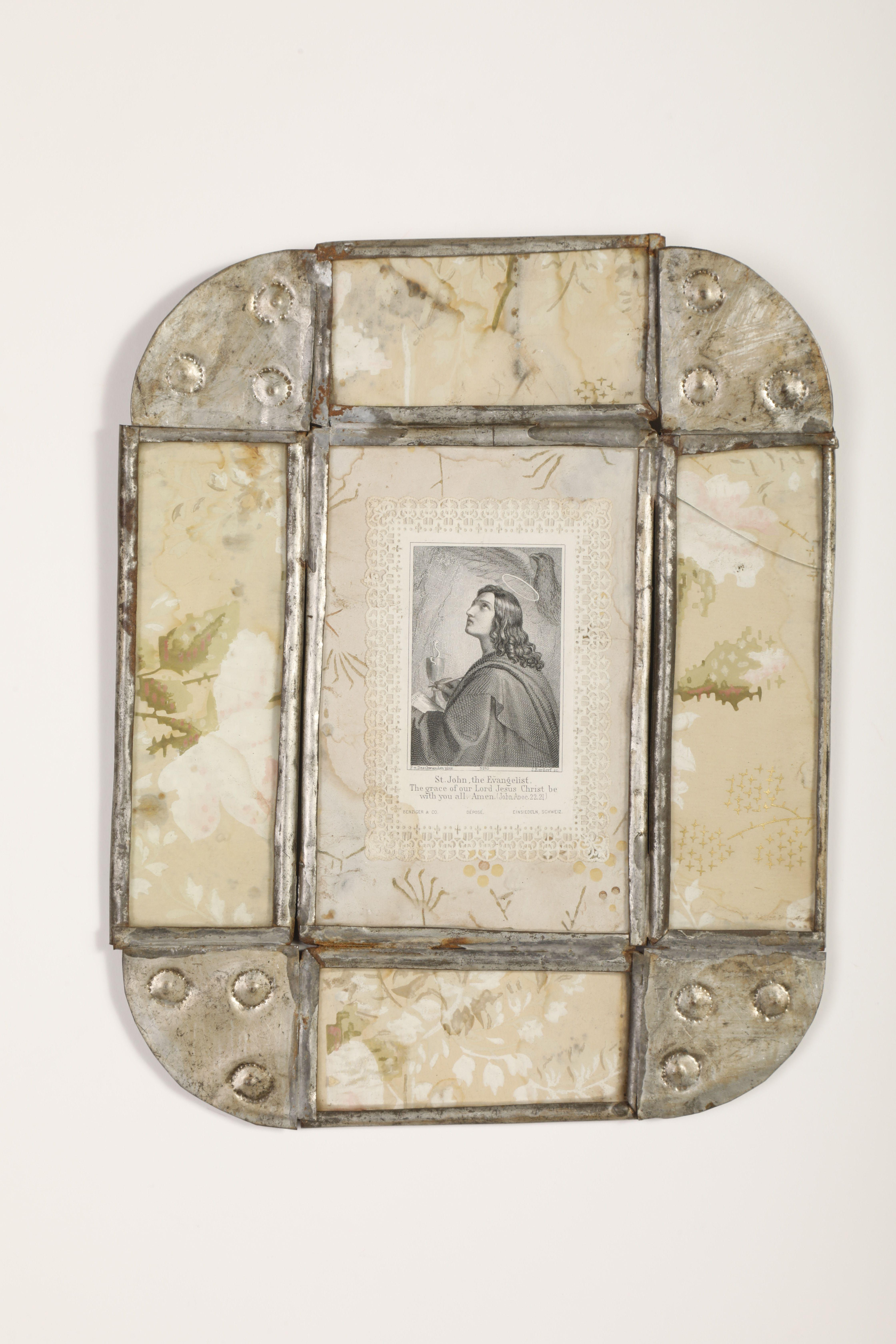Tin Frame with Devotional Card, ca. 1885