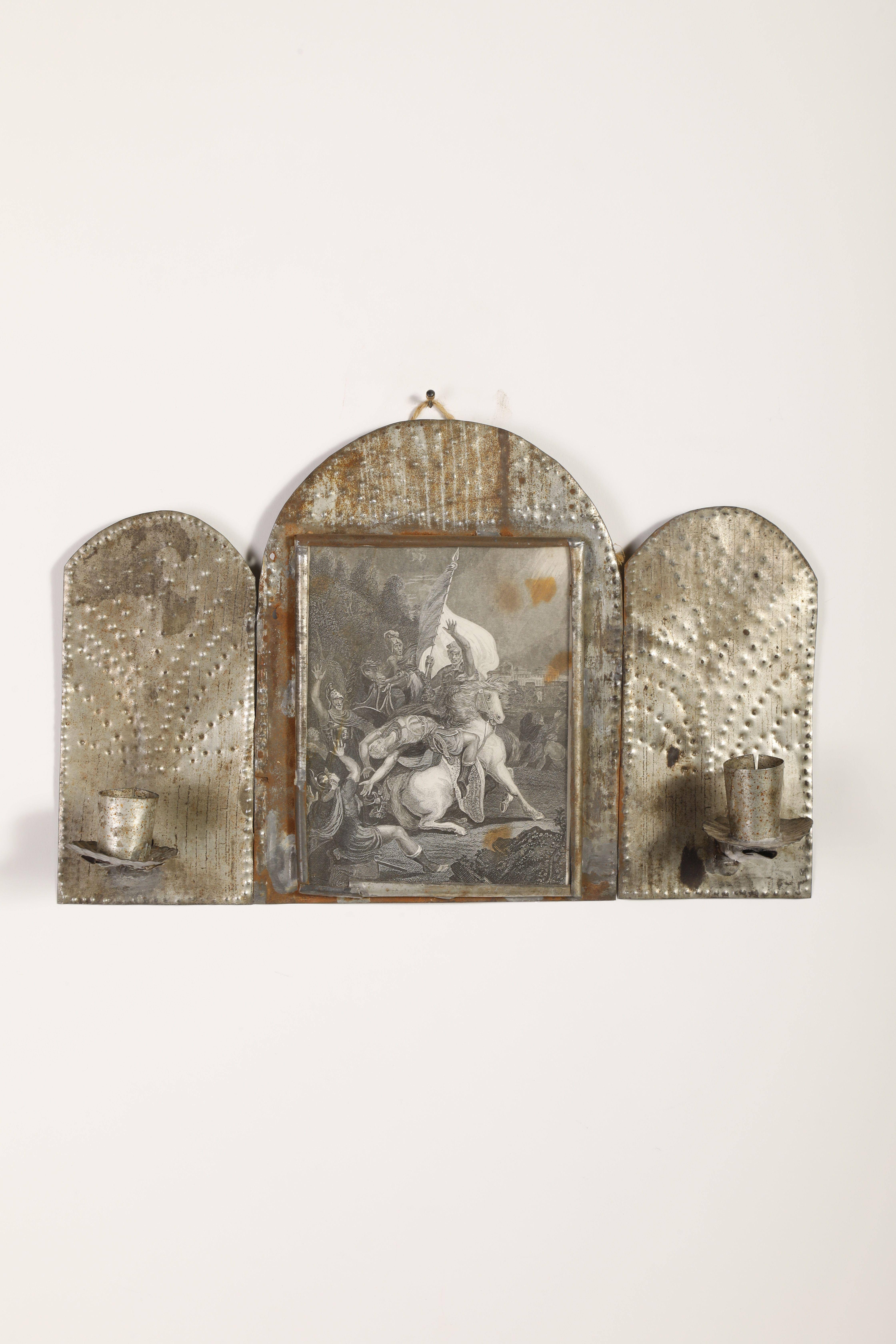 Tin Candle Sconce with Devotional Print , ca. 1885