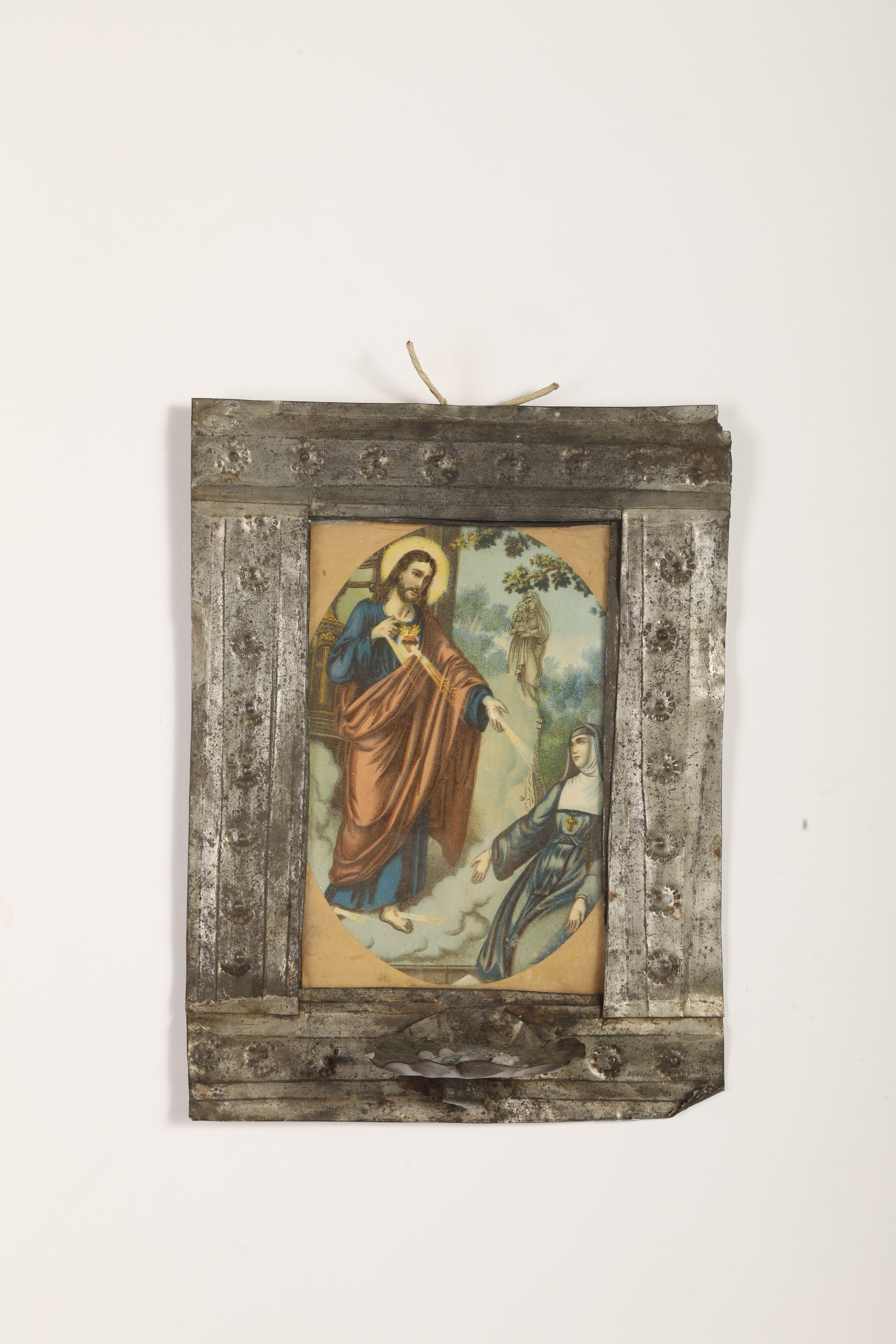 Tin Candle Sconce with Devotional Print