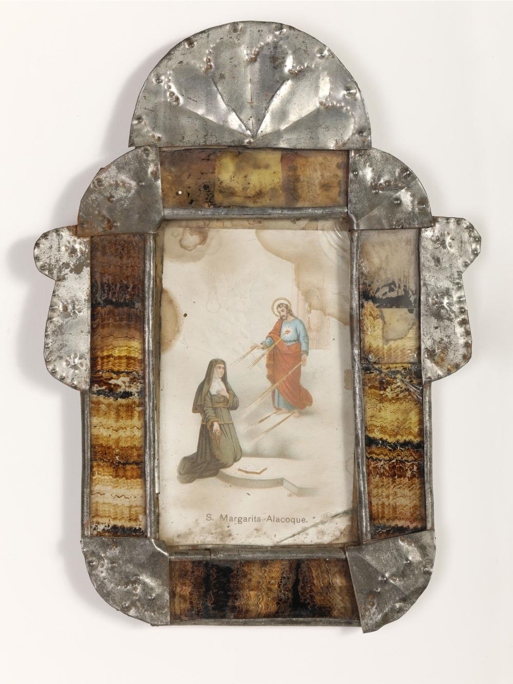 Tin Frame with Devotional Print, ca. 1910