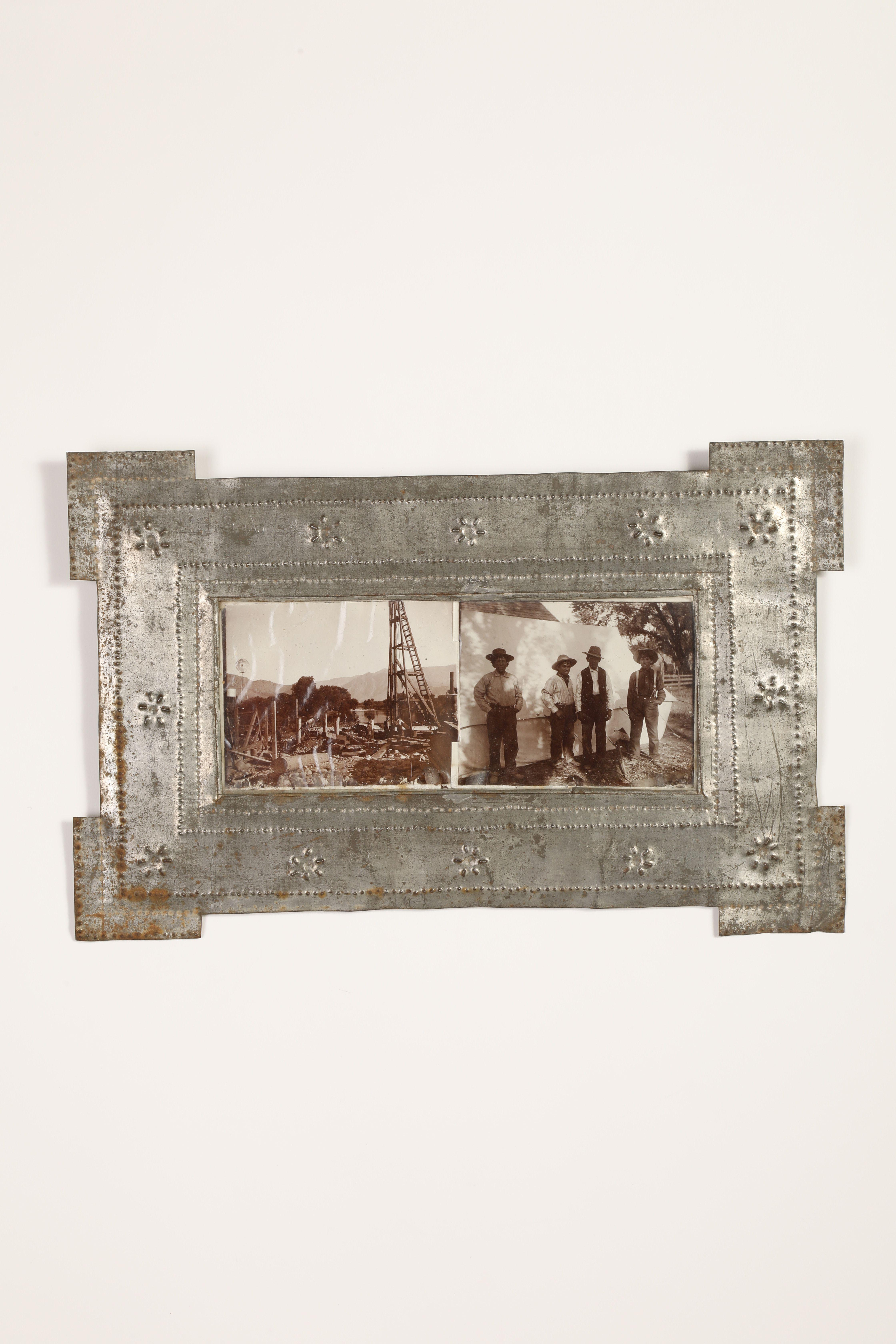 Tin Frame with Two Photographs, ca. 1900