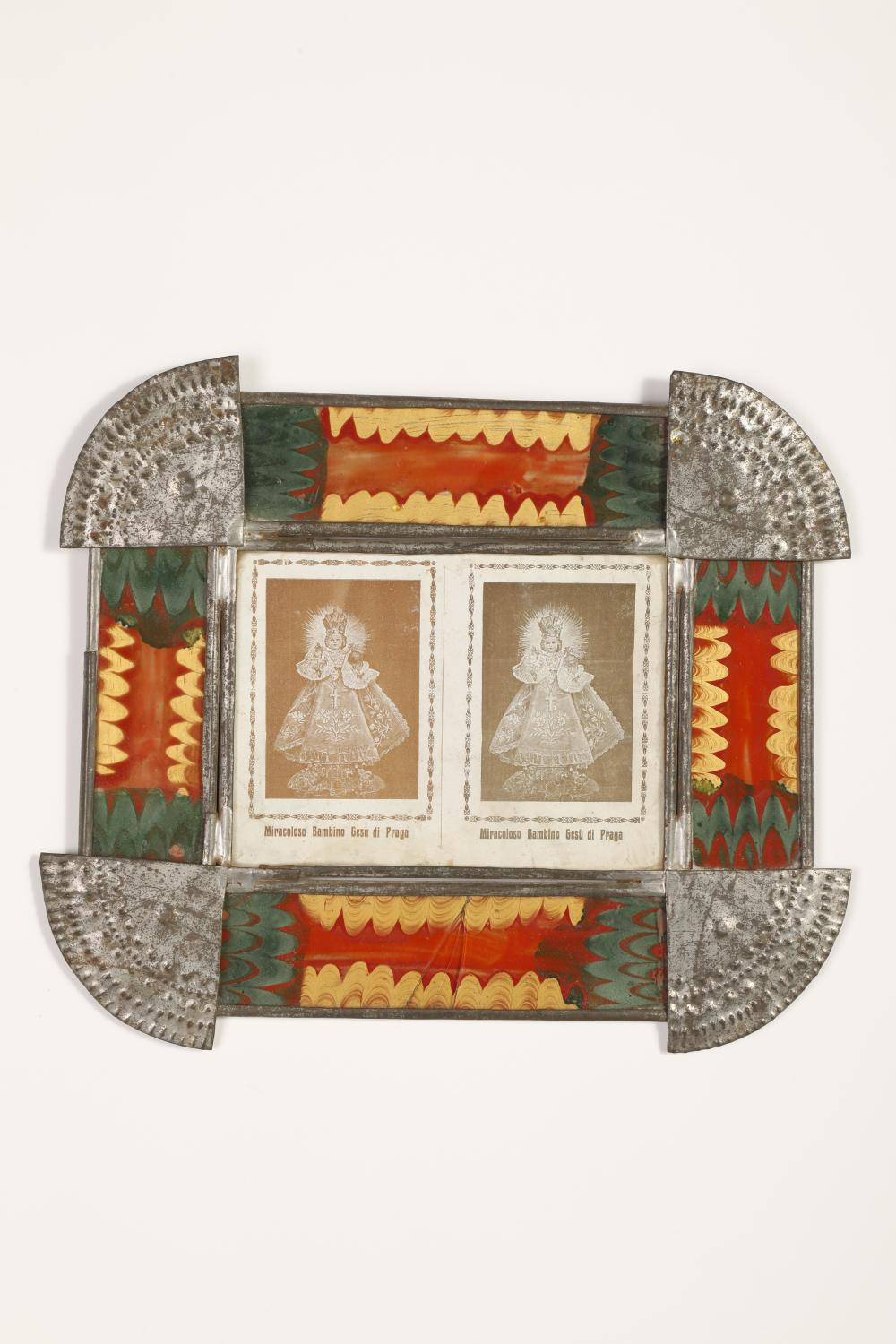 Tin Frame with Devotional Cards, ca. 1885