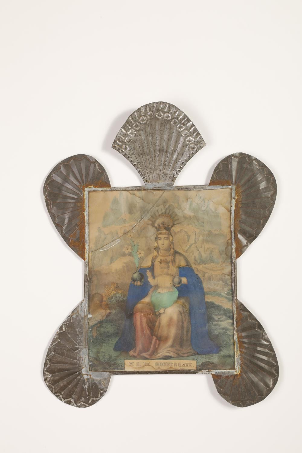 Tin Frame with Devotional Print, ca. 1870-1930