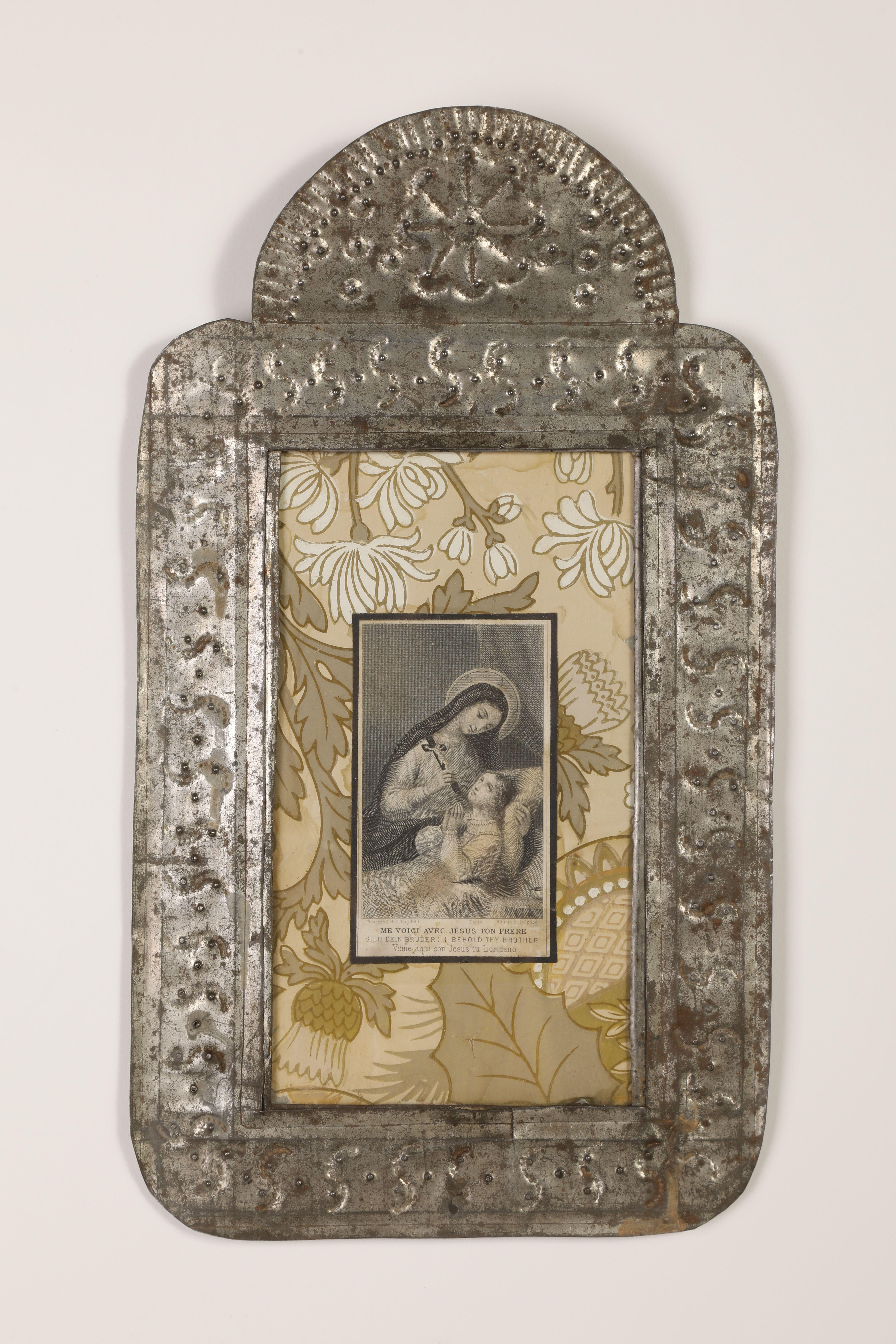 Tin Frame with Devotional Card, ca. 1870-1895