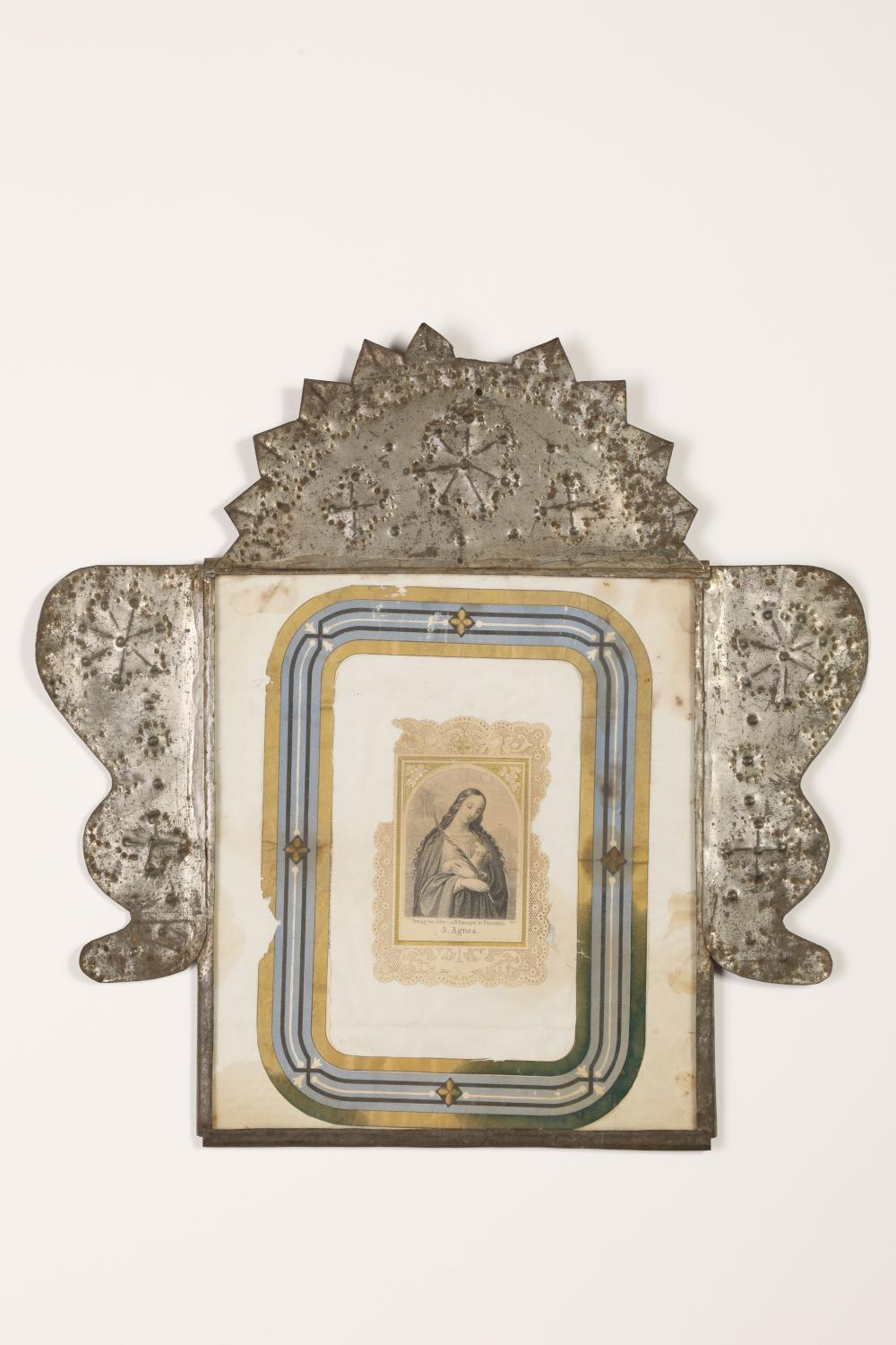 Two Tin Frames with Devotional Prints