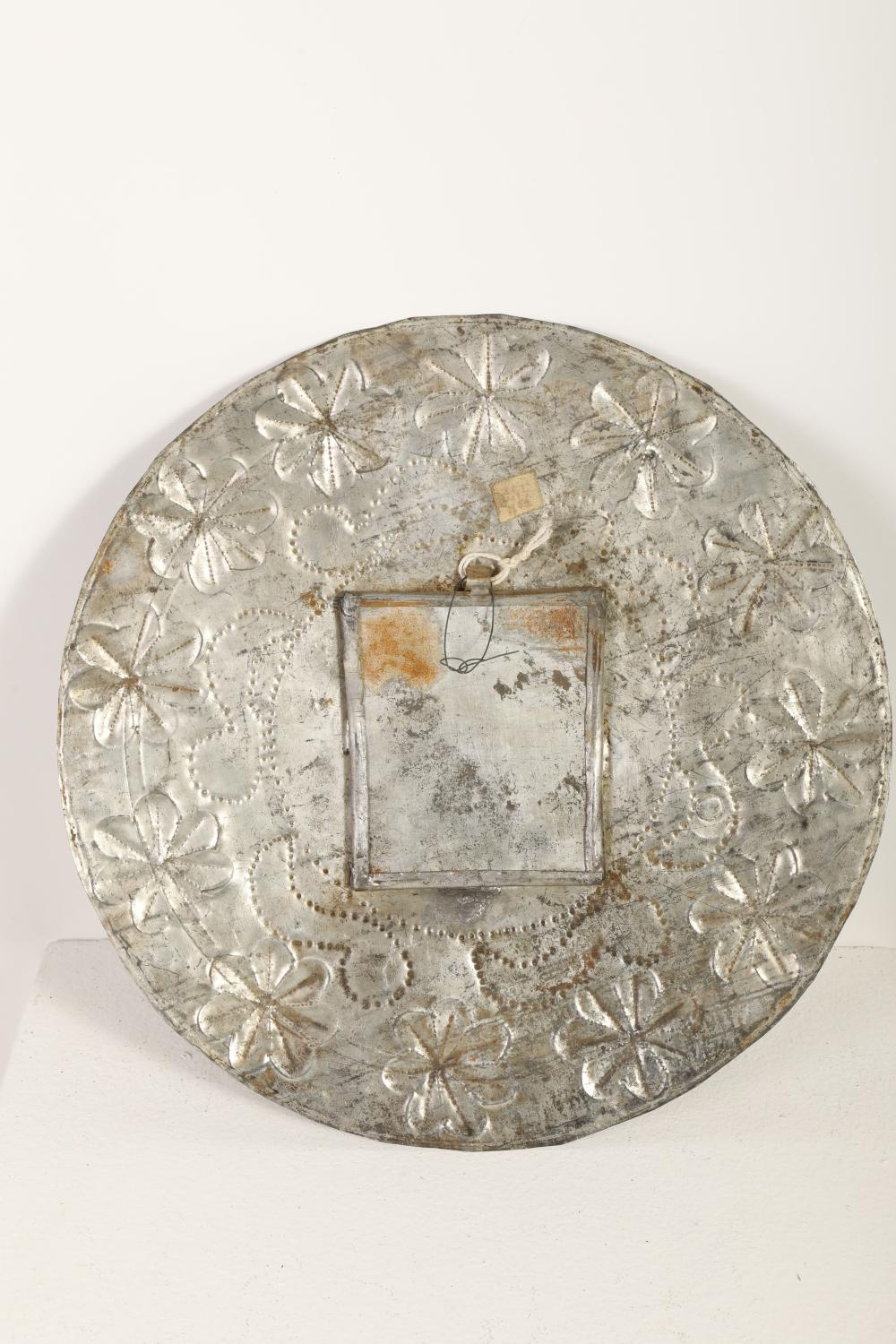 Tin Sconce with Devotional Card, ca. 1870-1900