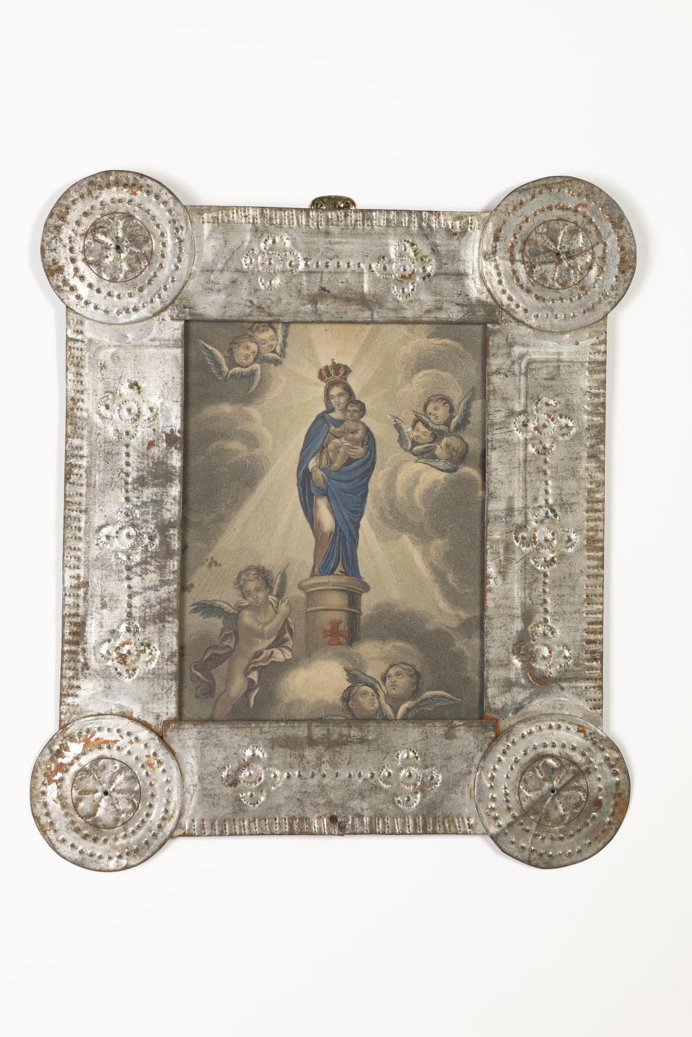 Tin Frame with Devotional Print , ca. 1865-1870
