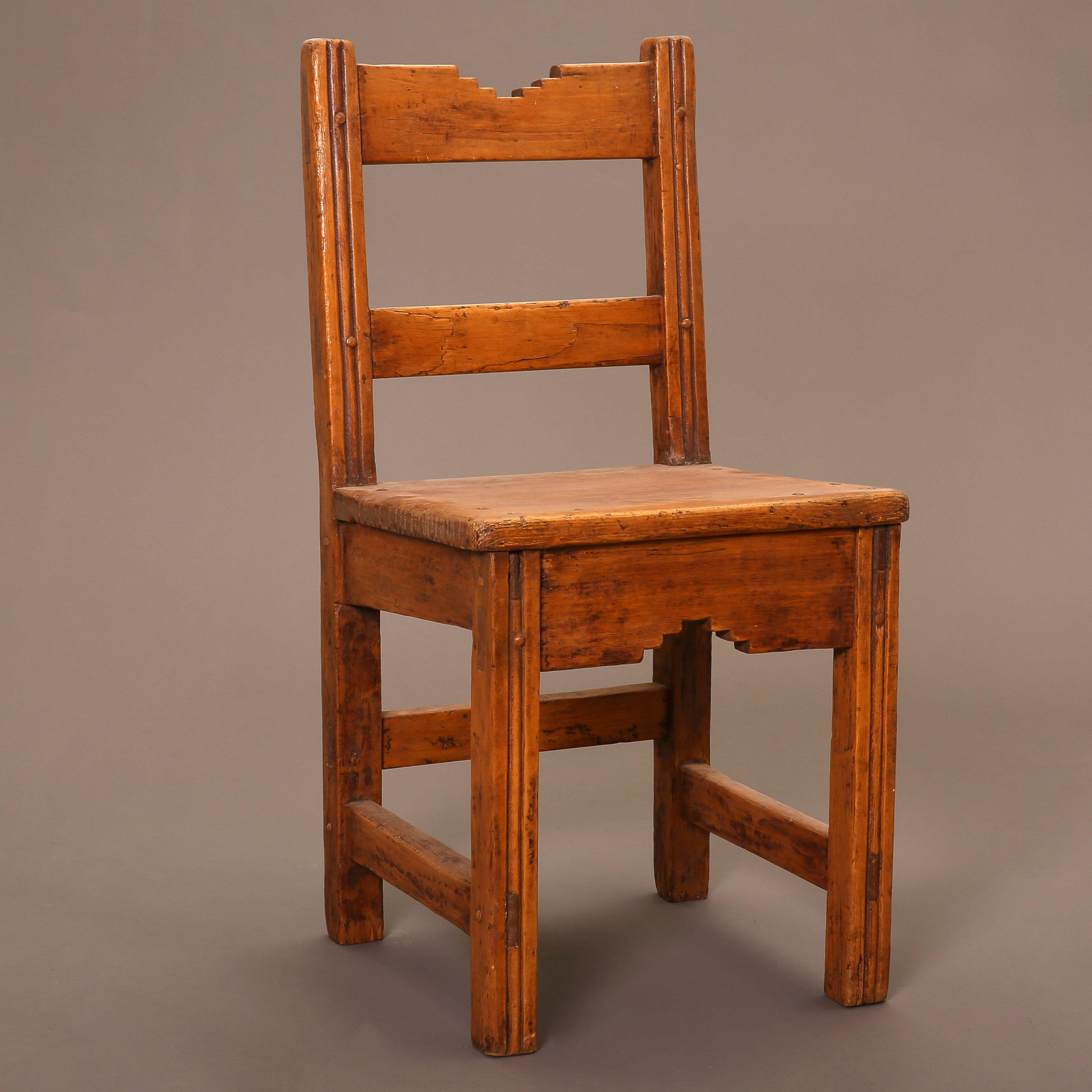 New Mexico, Two Wooden Side Chairs, ca. 1900
