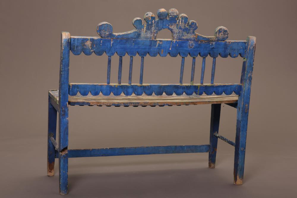 New Mexico, Blue Painted Bench, ca. 1890
