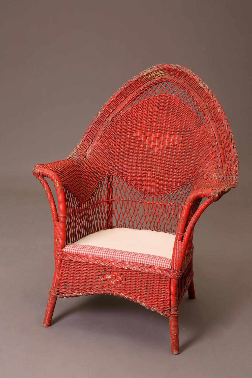 American, Red Wicker Sofa and Two Chairs, ca. 1930