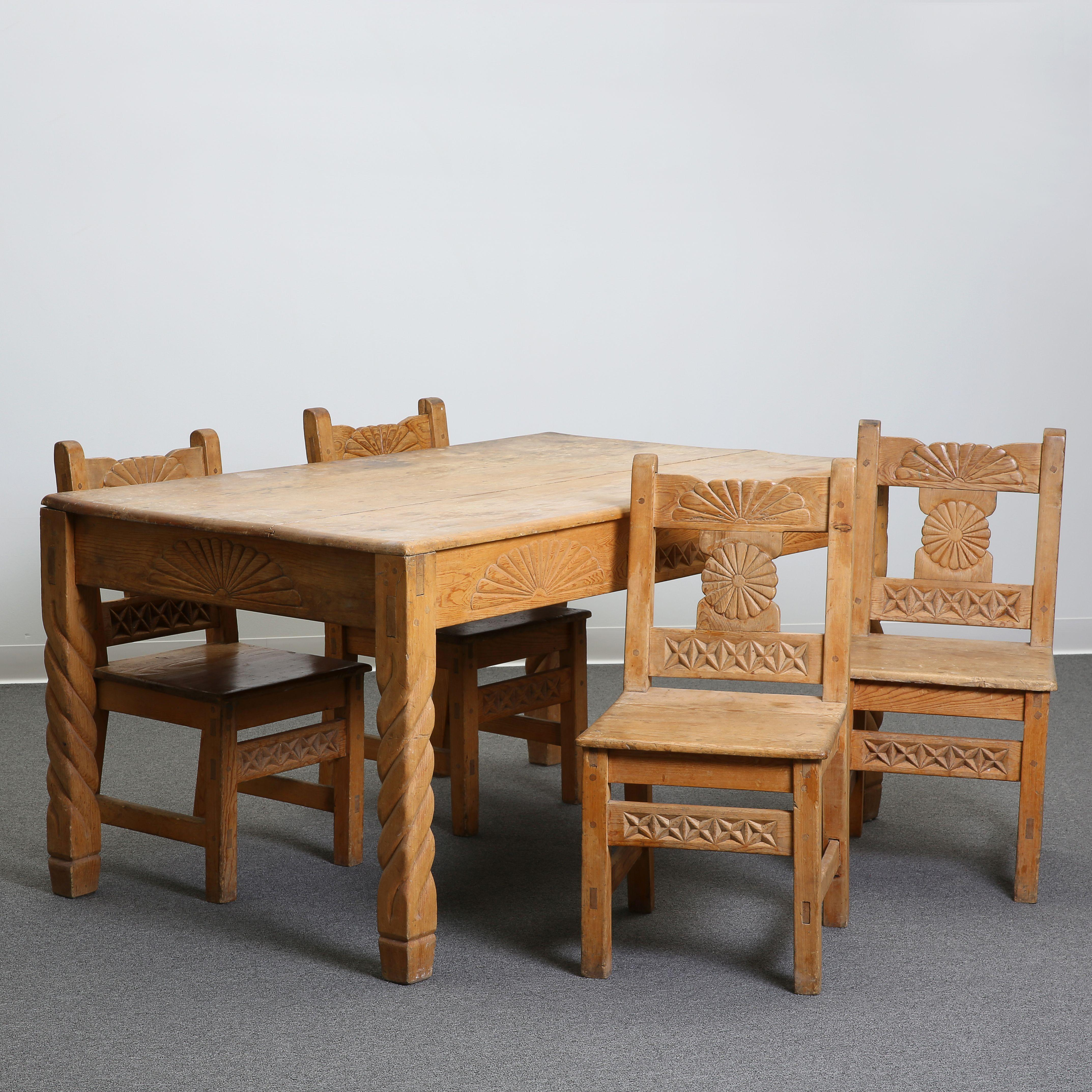 New Mexico, Revival Style, Table and Four Chairs