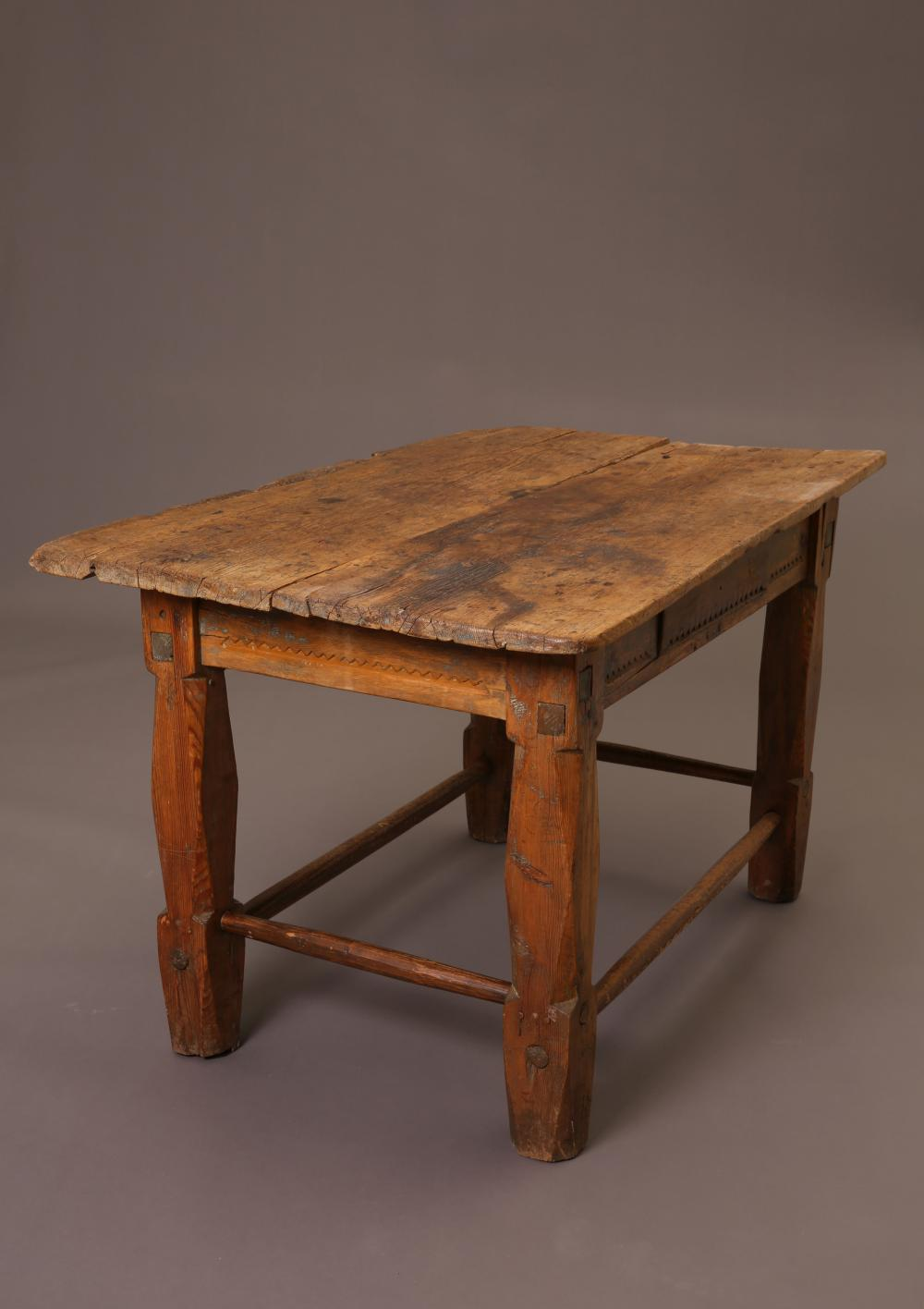 Wooden Table with Carved Sides, 19th Century