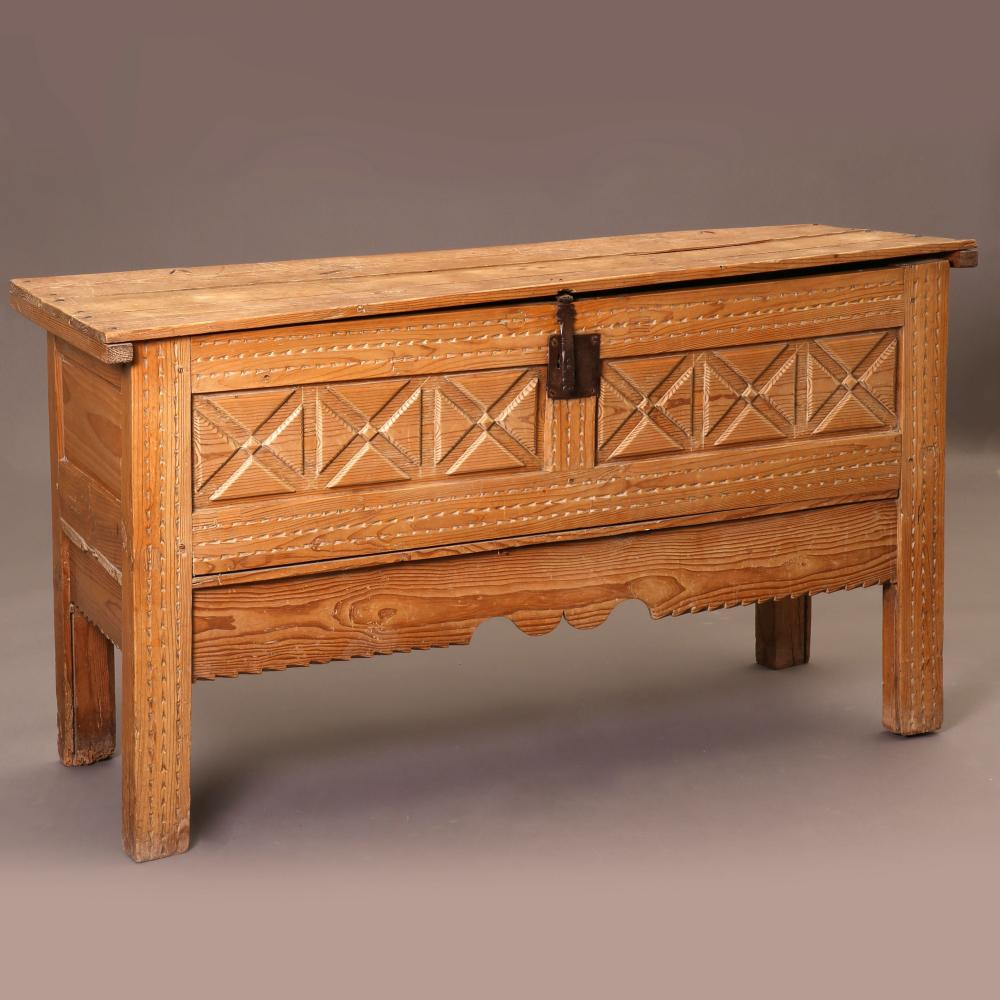 New Mexico, Carved Wooden Chest on Legs
