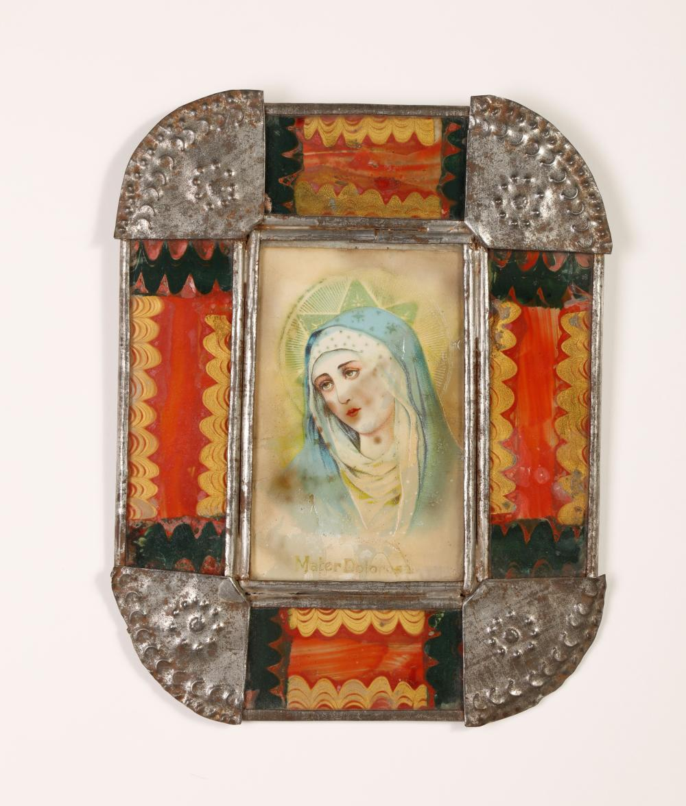Tin Frame with Devotional Print, ca. 1885