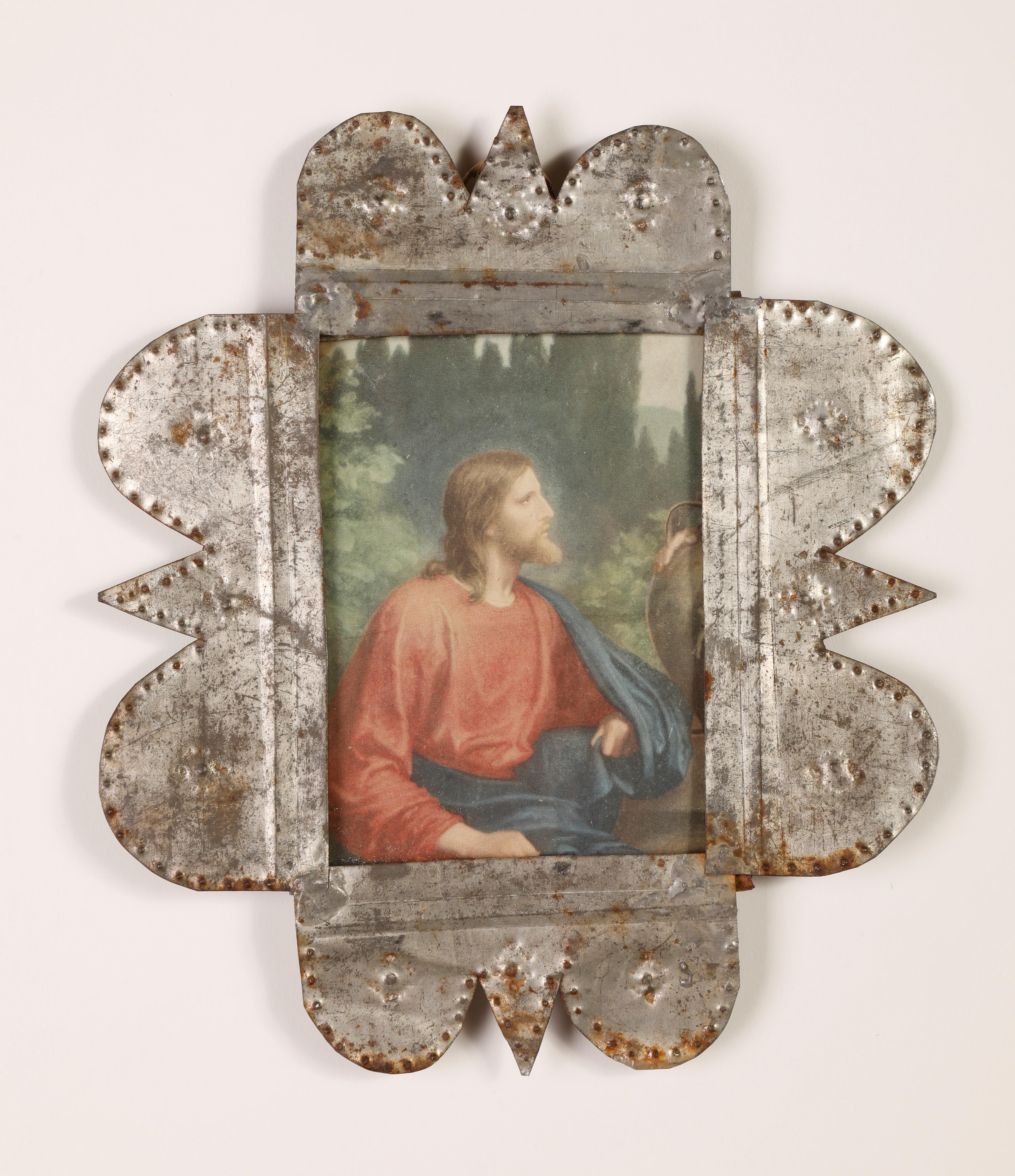 Tin Frame with Devotional Print, ca. 1885