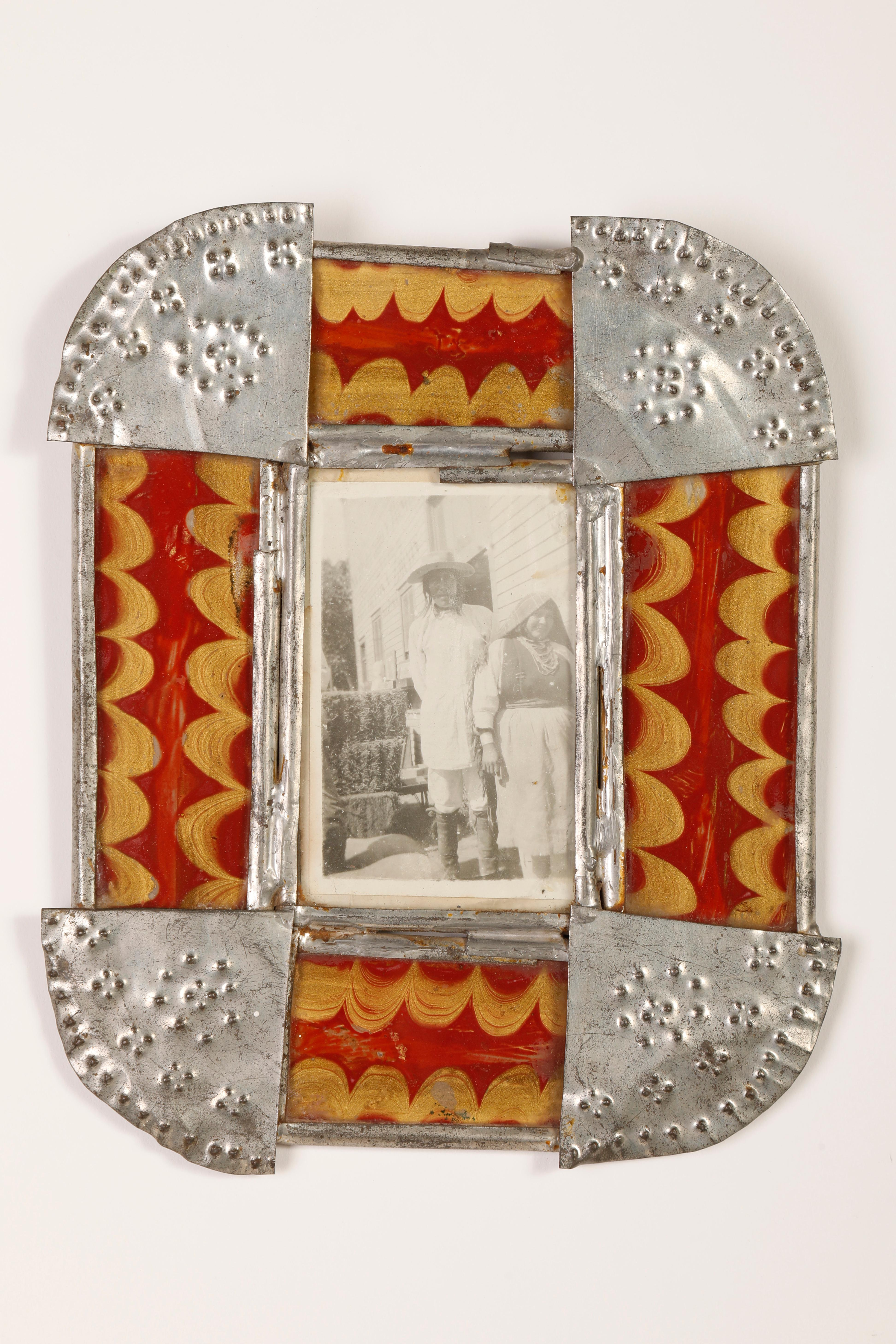 Tin Frame with Reverse Painted Glass, ca. 1900