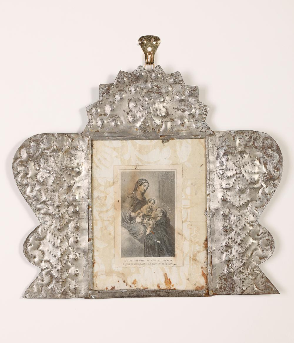 Tin Frame with Devotional Card, ca. 1870-1905