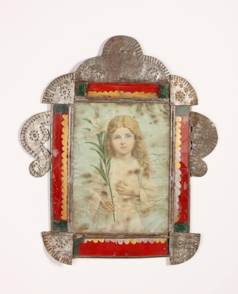 Tin Frame with Devotional Print , ca. 1885