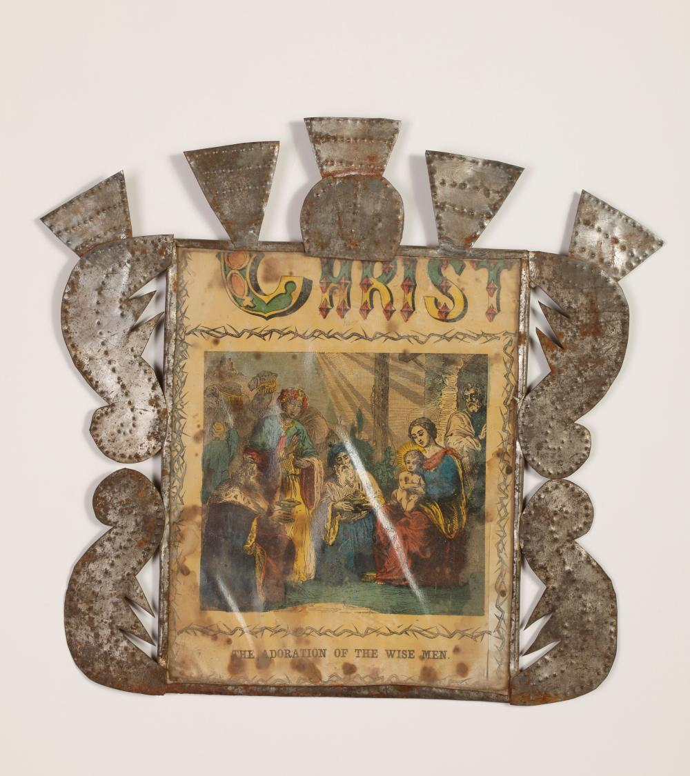 Tin Frame with Devotional Print, ca. 1880