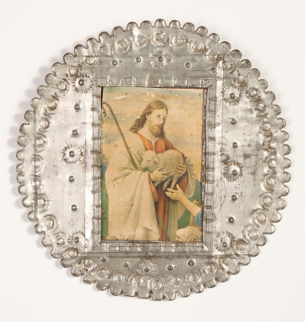 Round Tin with Devotional Print, ca. 1870-1890