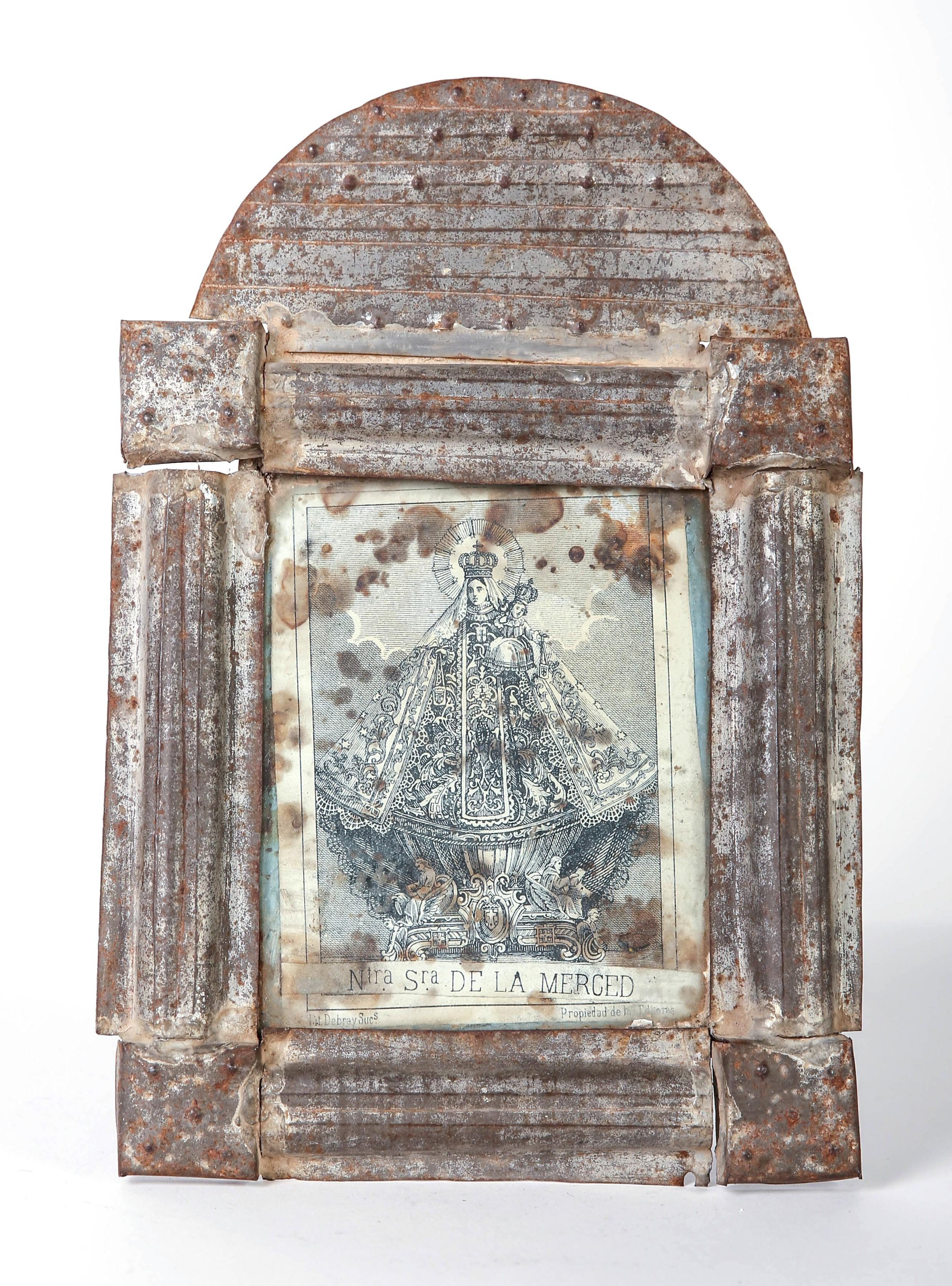 Tin Frame with Devotional Print, ca. 1870