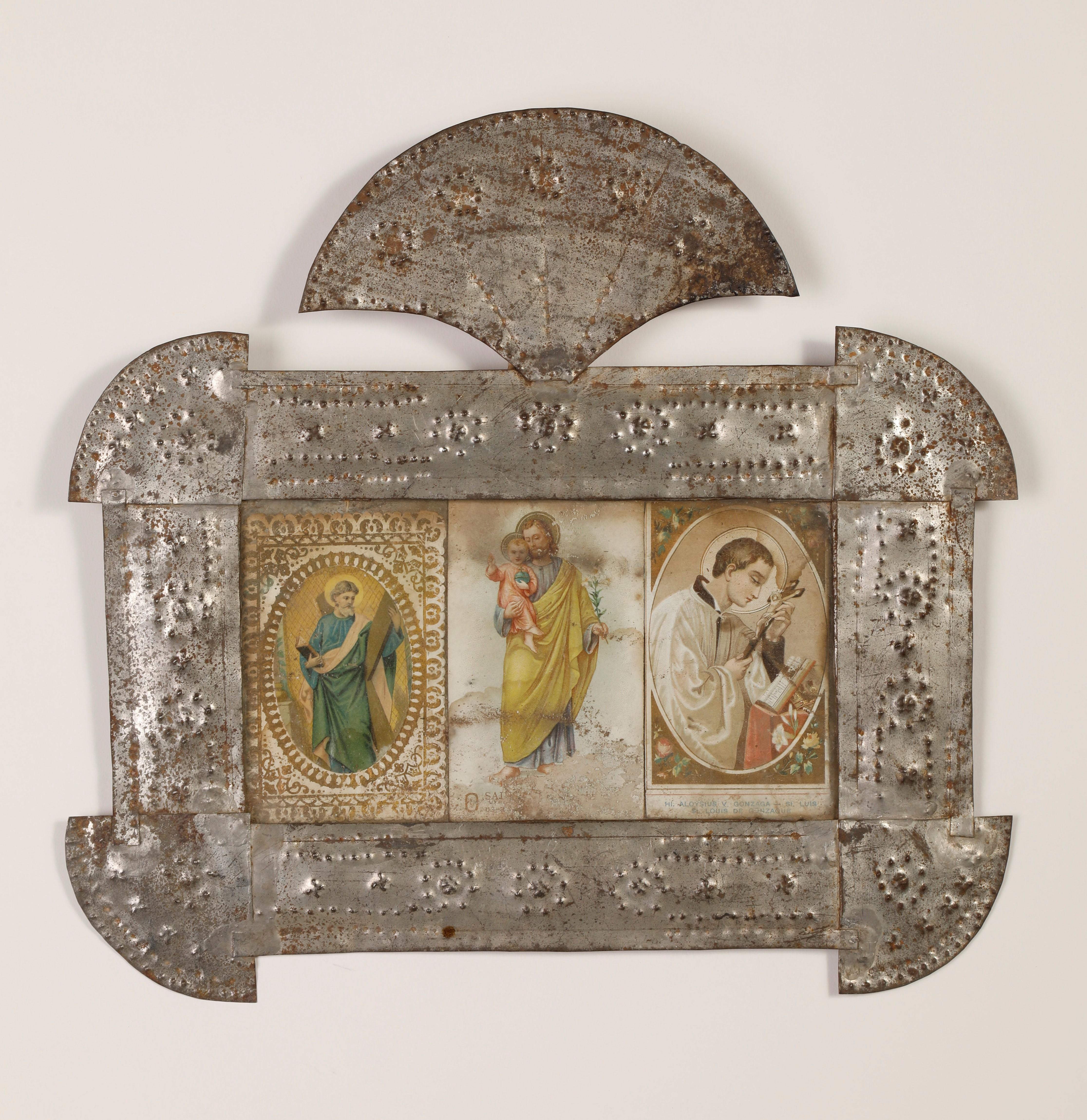 Tin Frame with Three Devotional Cards, ca. 1885