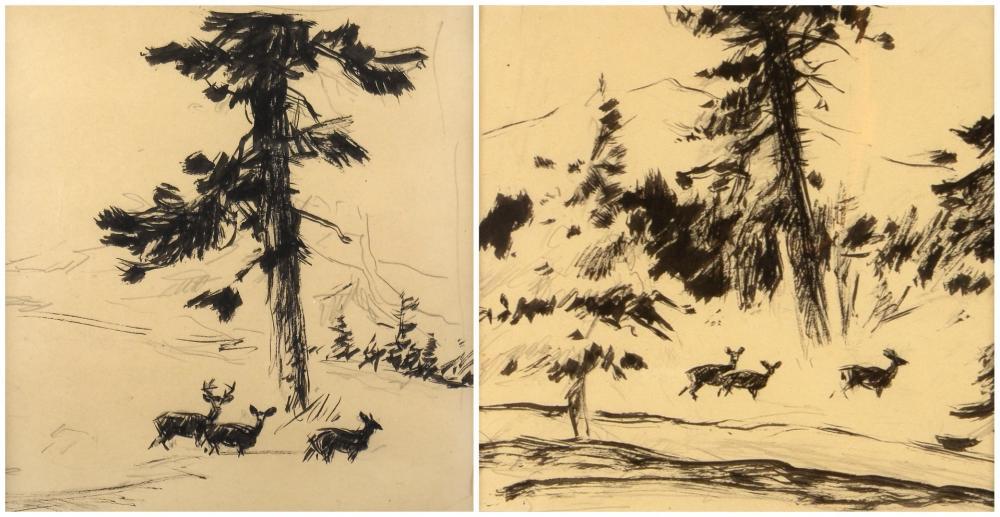 Frank Hoffman, Two Drawings of Deer