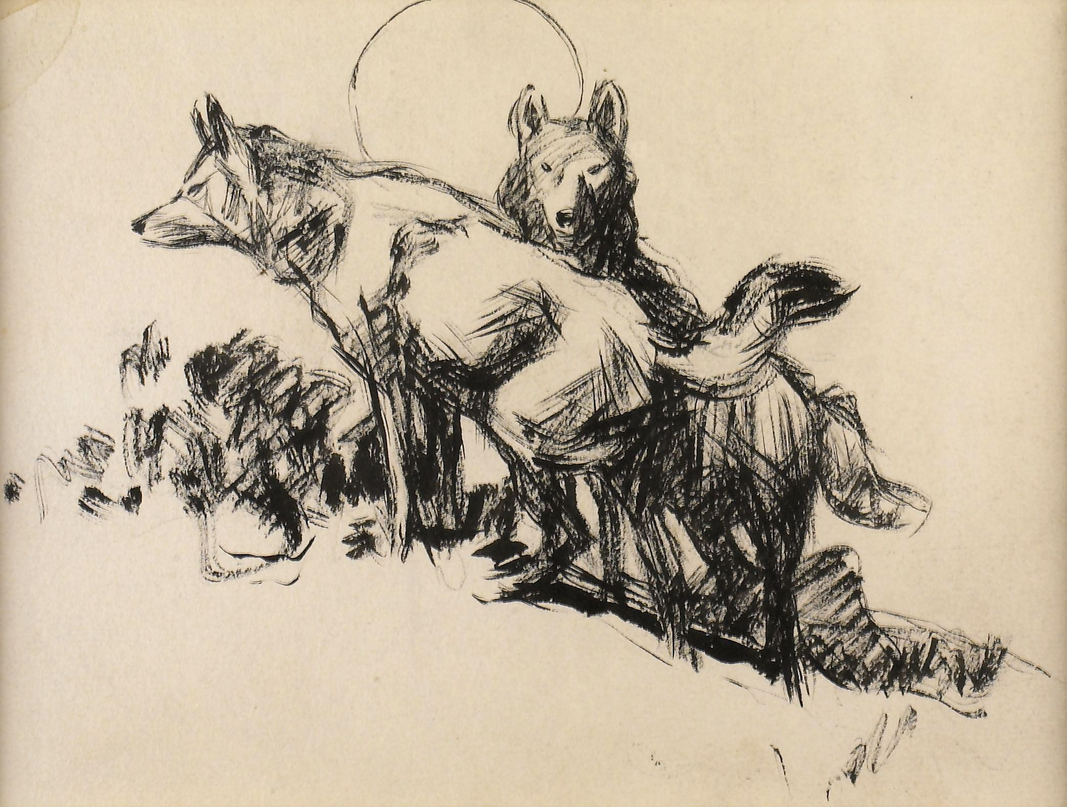 Frank Hoffman, Untitled (Two Coyotes Under the Moon)