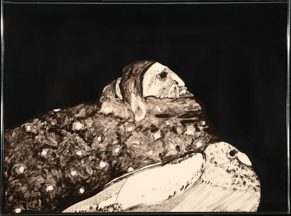Fritz Scholder, Indian with Pigeon, 1970-71