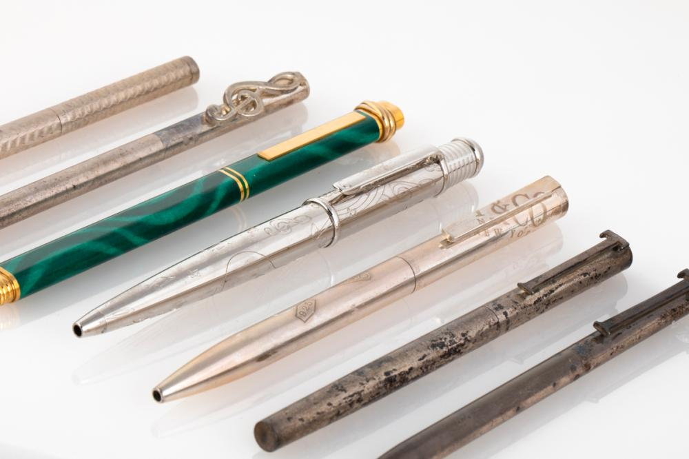 A Group of Seven Cartier / Tiffany & Co. Pens