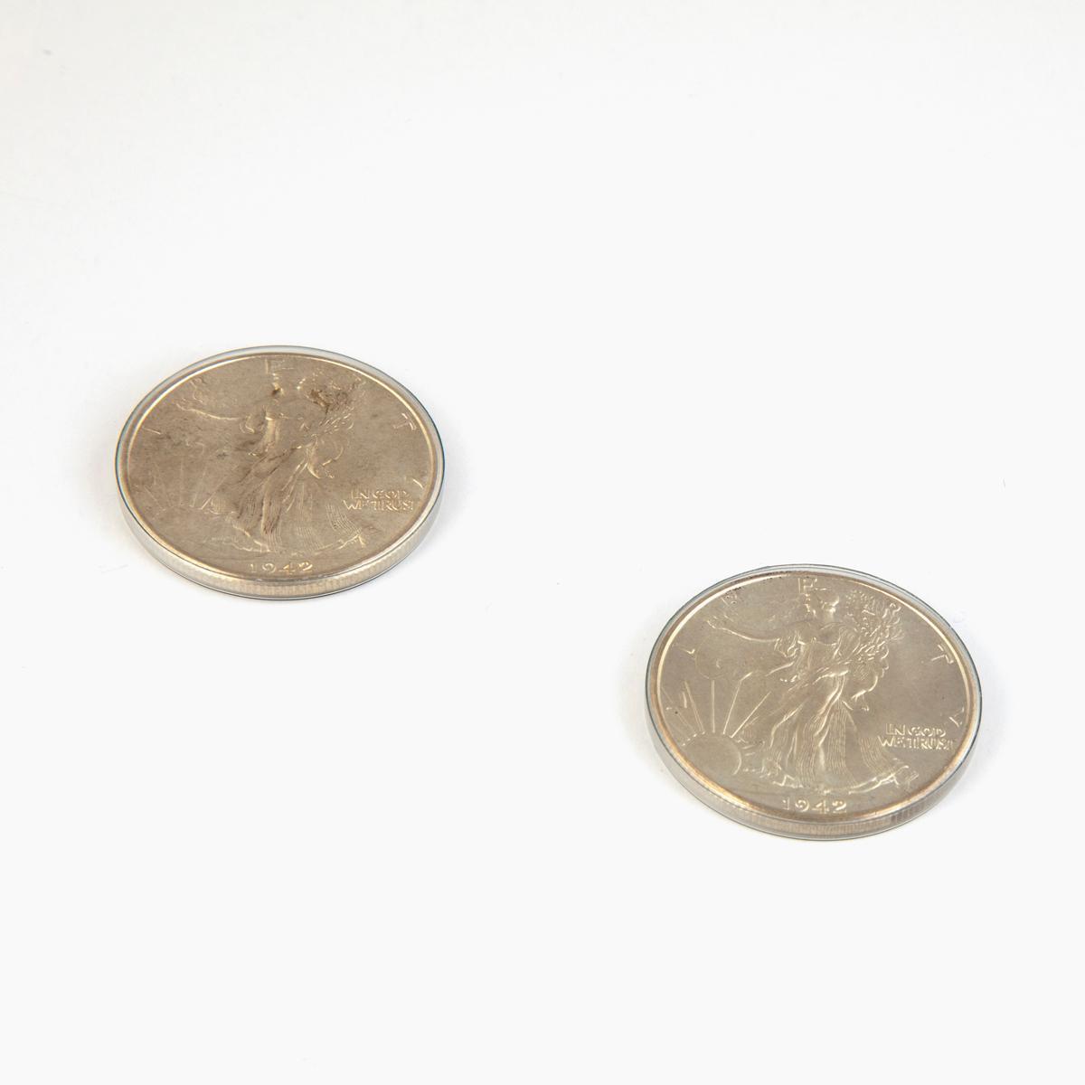 A Pair of Walking Liberty Coins, 1942