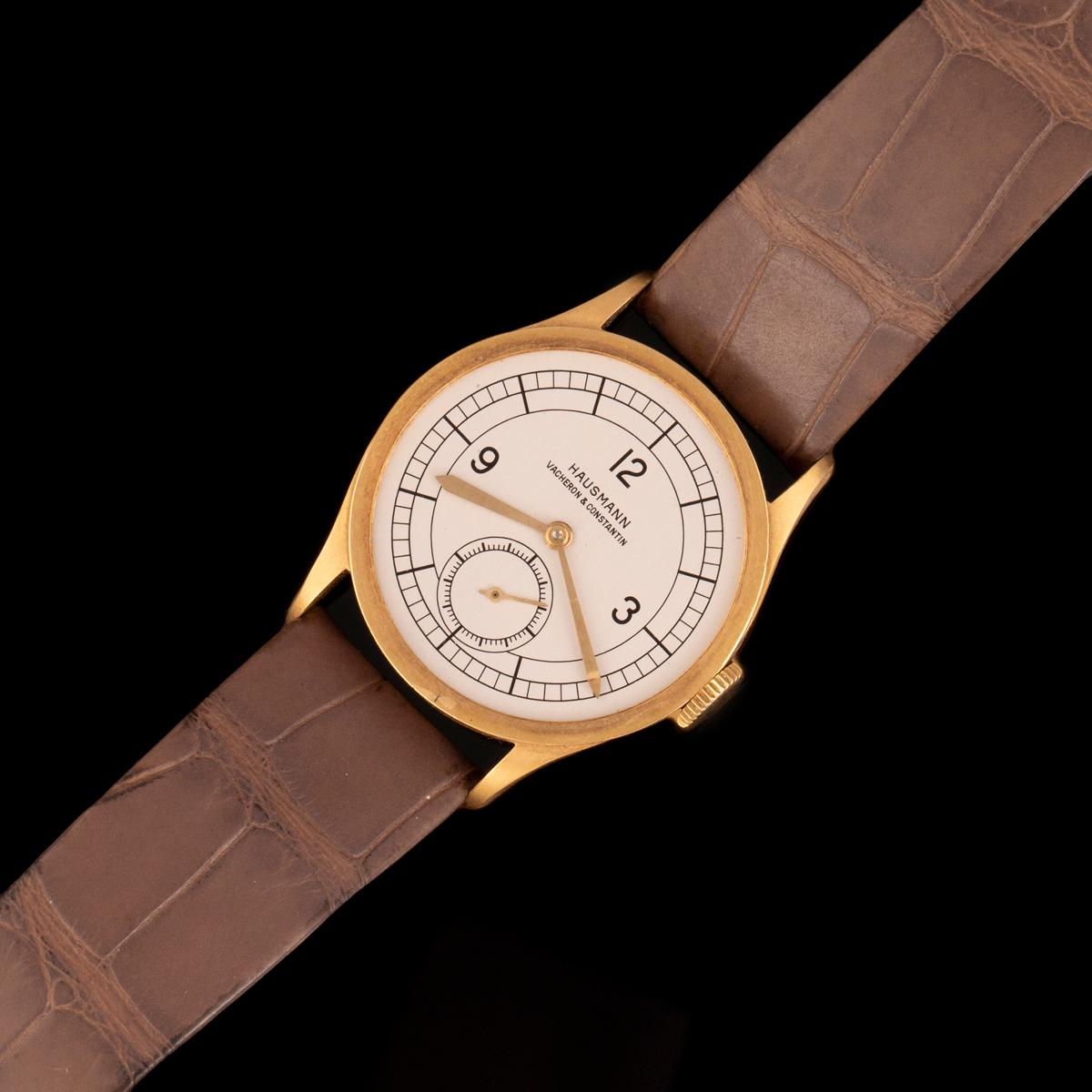 Vacheron & Constantin Gold Wristwatch with Sector Dial Retailed by Hausmann