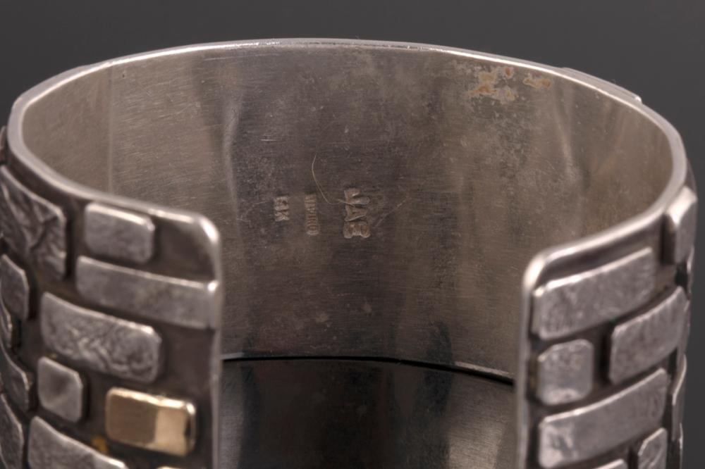 A Jolene A. Eustace Sterling Silver and Gold Cuff Bracelet