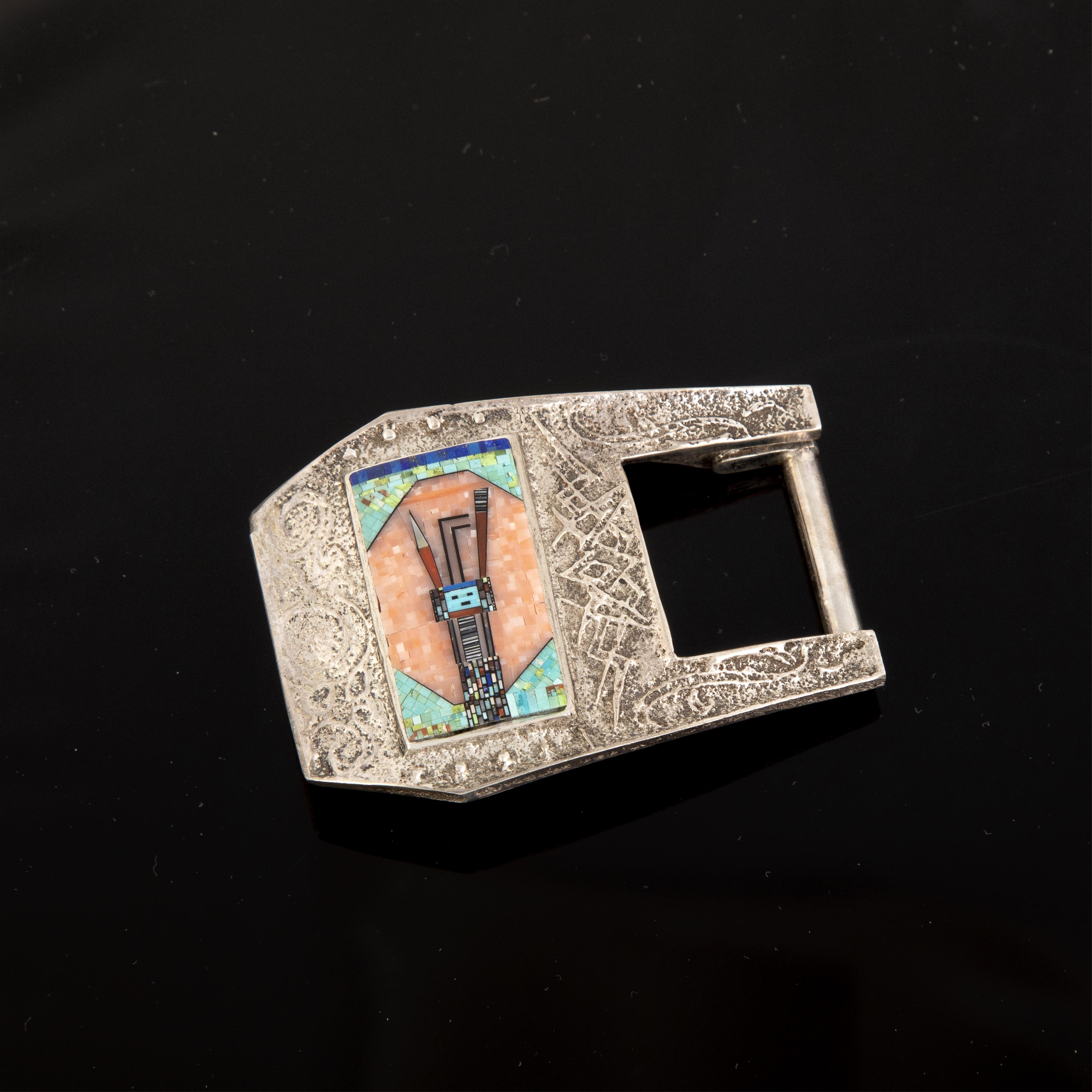 A Carl and Irene Clark Sterling Silver and Micro-Mosaic Belt Buckle