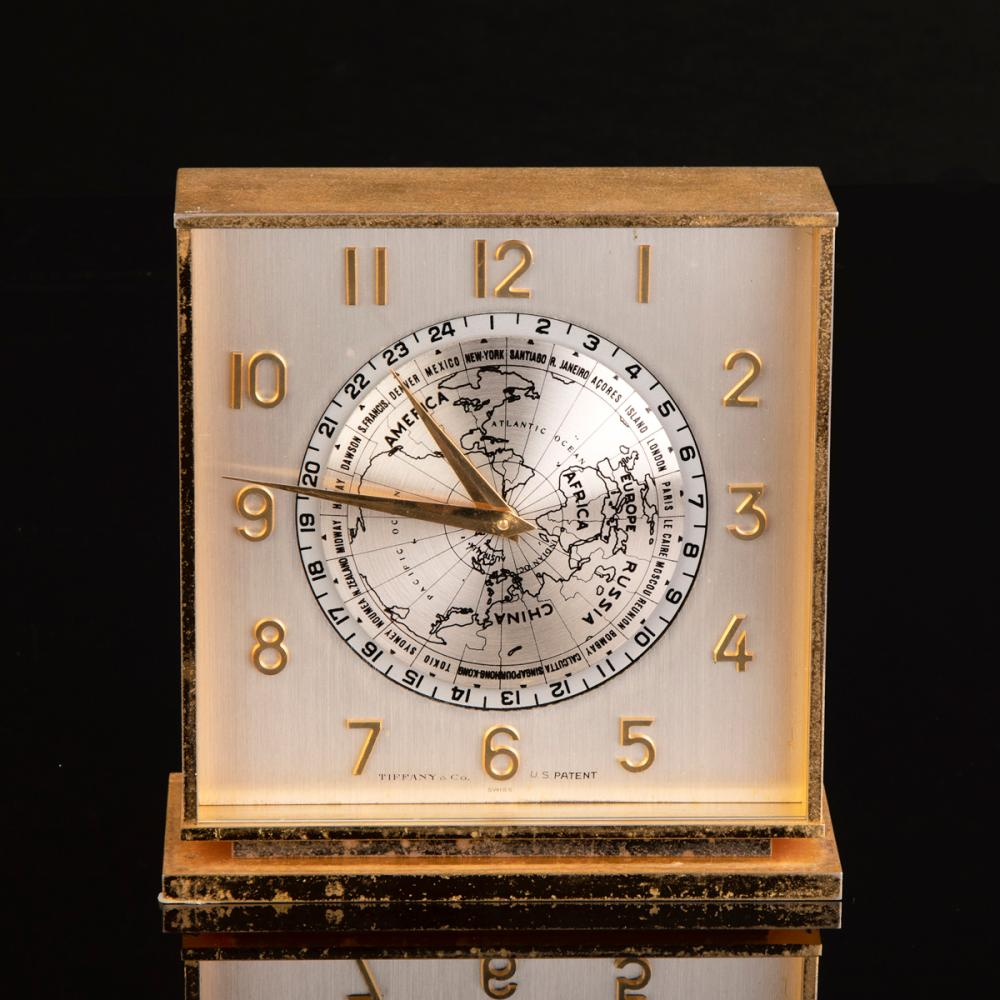 Tiffany & Co. Gilt World Time Desk Clock