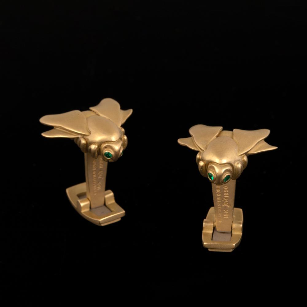 A Pair of Kieselstein Cord Gold Bee Form Cufflinks