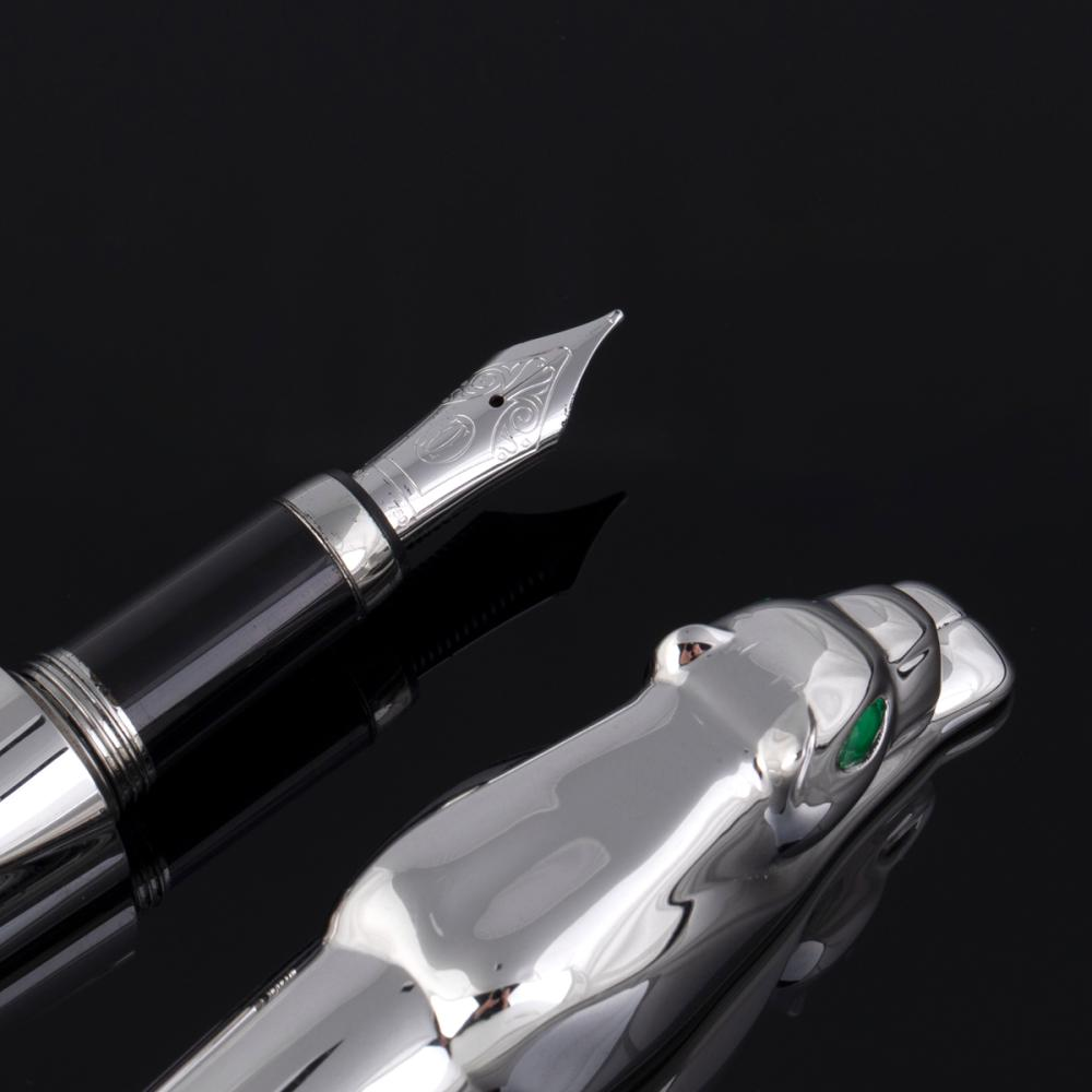A Cartier Limited Edition Panthere Sterling Silver Fountain Pen
