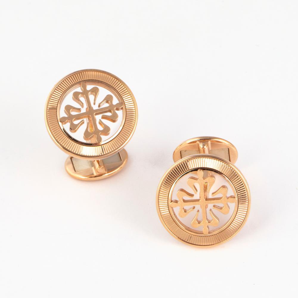 A Pair of Patek Philippe Calatrava Pink Gold Cuff Links