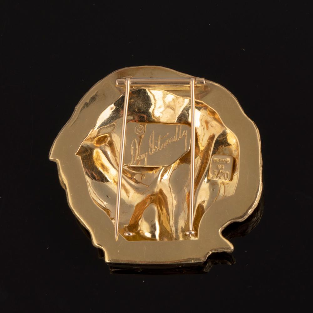 A Dan Ostermiller and Matthew Trent Redondo Bear Form Gold Pendant / Pin