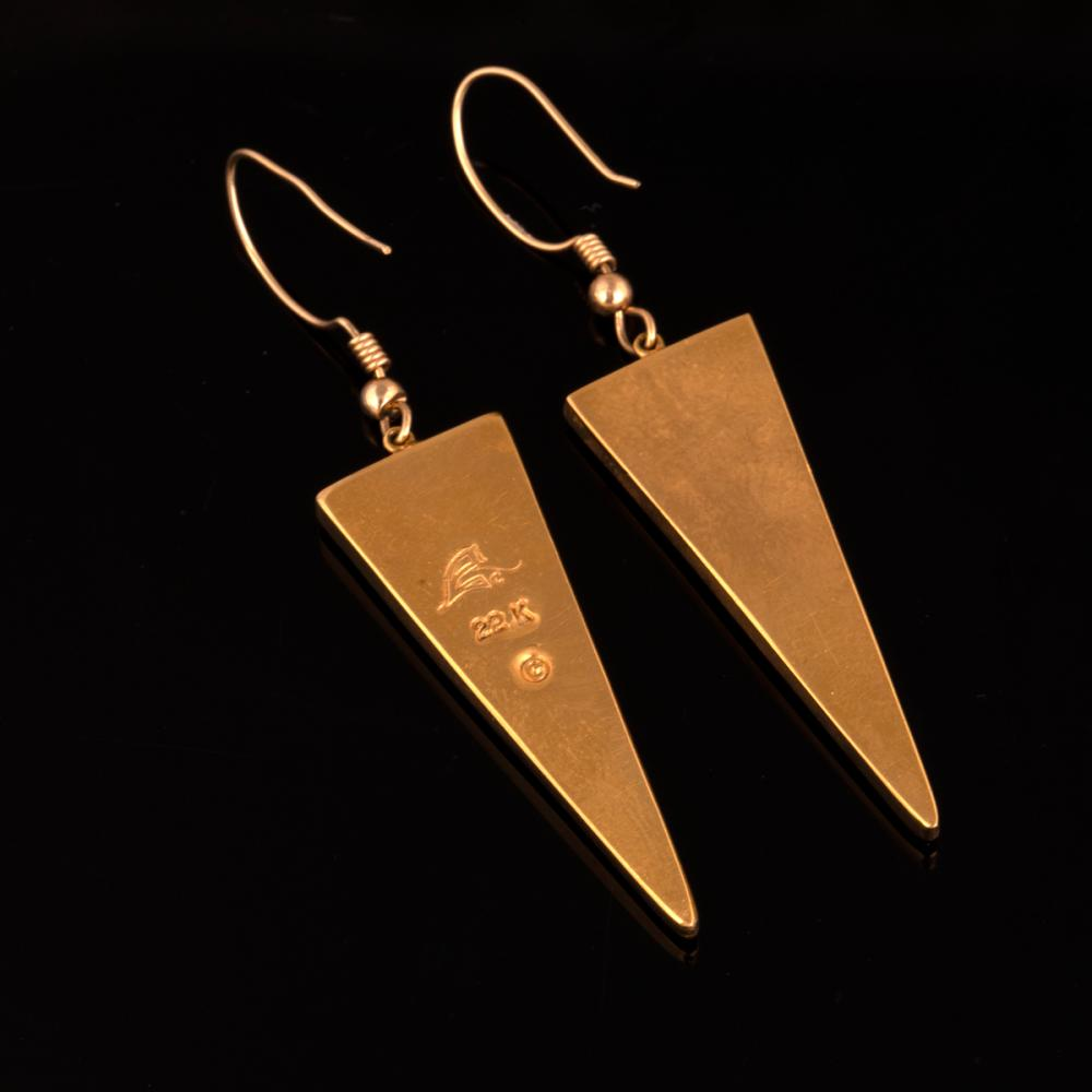 A Pair of Carl and Irene Clark Gold Earrings with Micro-Mosaic Inlay