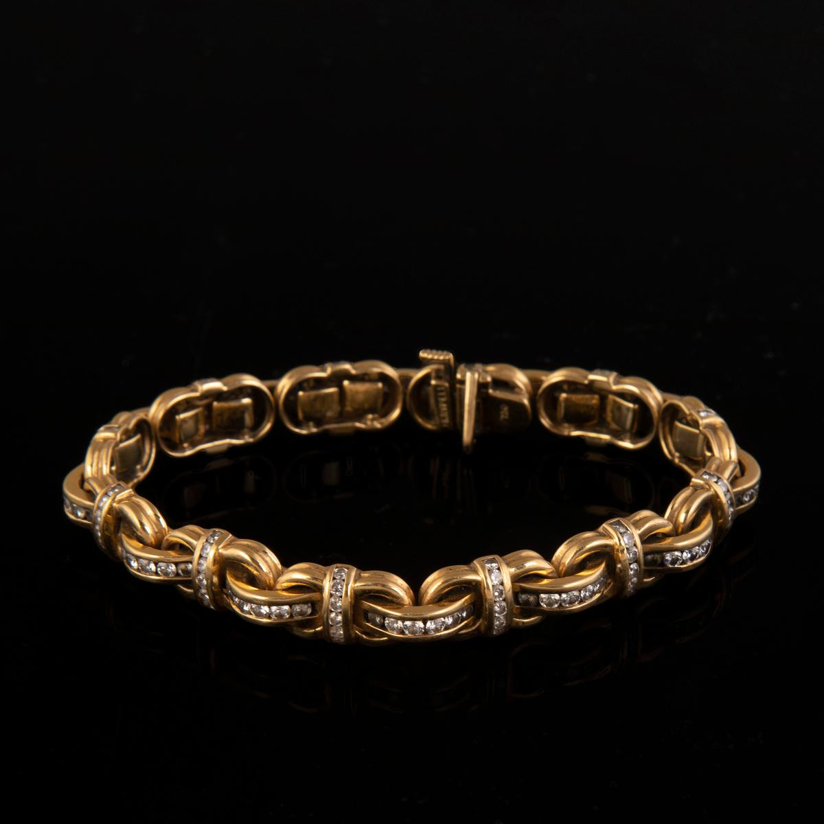 A Charles Krypell 18K Yellow Gold and Diamond Bracelet