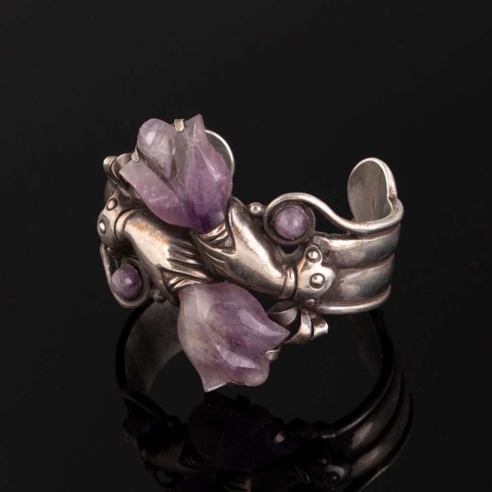 A Spratling Silver and Amethyst Cuff Bracelet