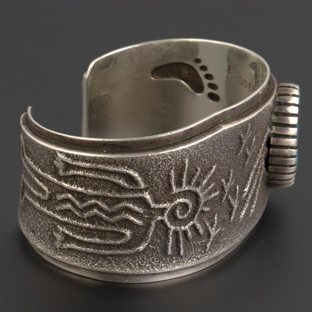 A Robert Sorrell Silver and Turquoise Cuff Bracelet