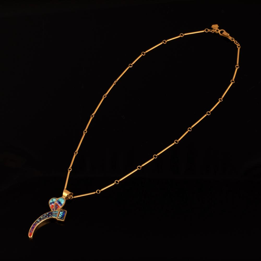 A Carl & Irene Clark Gold Dragonfly Pendant with Micro-Mosaic Inlay & Chain
